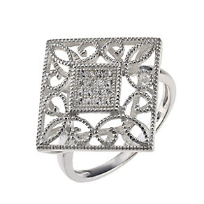 Sterling Silver & Cubic Zirconia Diamond Shaped Ring Size N - Product number 9948856