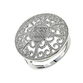 Sterling Silver & Cubic Zirconia Round Ring Size L - Product number 9948872