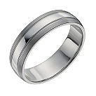 Palladium three row 6mm matte & polished band ring - Product number 9951083