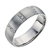 Palladium 950 6mm 12 point diamond three row band ring - Product number 9951210