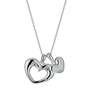 Sterling Silver Mother Daughter Pendant Necklace