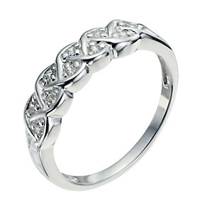 Sterling Silver & Cubic Zirconia Crossover Ring Size N - Product number 9951830