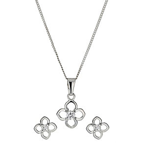 Sterling Silver Four Leaf Pendant & Earring Set - Product number 9952381