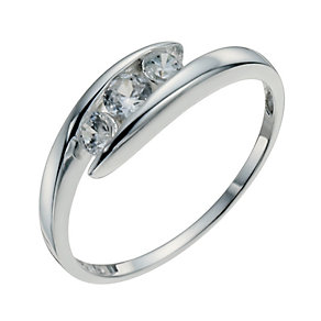 Sterling Silver & Cubic Zirconia Three Stone Ring Size N - Product number 9952799