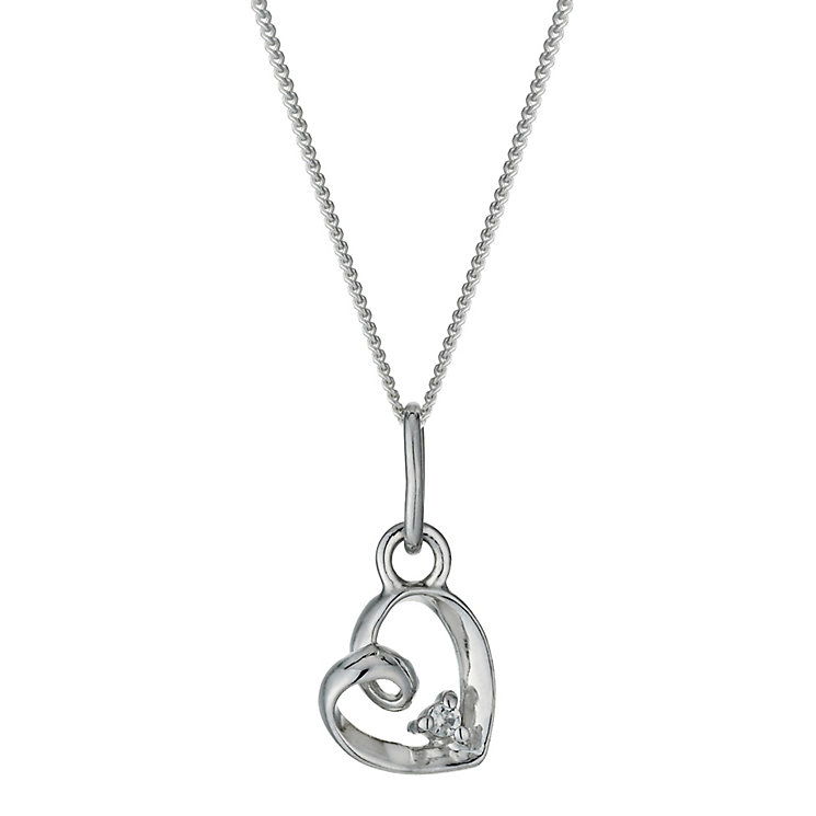 Sterling Silver & Cubic Zirconia Loop Heart Pendant Necklace - Product number 9953272
