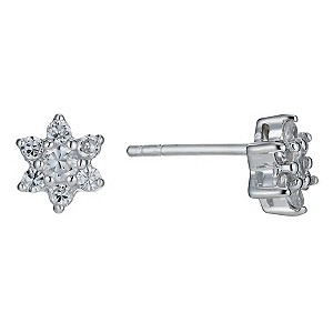 Sterling Silver and Cubic Zirconia Flower Stud