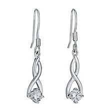 Sterling Silver & Cubic Zirconia Figure of 8 Drop Earrings - Product number 9953361