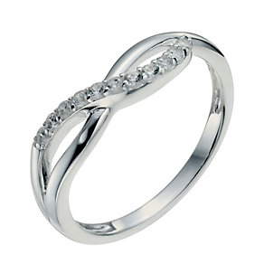 Sterling Silver & Cubic Zirconia Crossover Ring Size P - Product number 9953868
