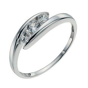 Sterling Silver & Cubic Zirconia Three Stone Ring Size P - Product number 9954090