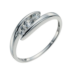 Sterling Silver & Cubic Zirconia Three Stone Ring Size L - Product number 9954104