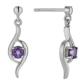 Sterling Silver & Amethyst Double Wave Drop Earrings - Product number 9954961