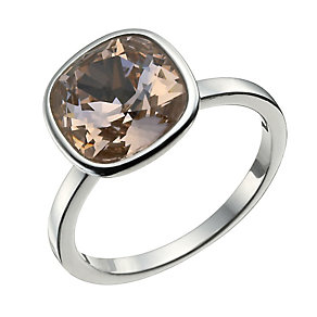 Sterling Silver Rose Crystal Ring Size P - Product number 9955046