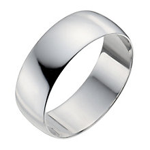 Men's 9ct White Gold 7mm Heavy D Shape Ring - Product number 9955089