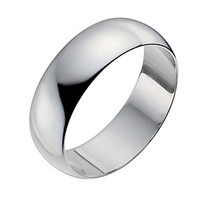 Men's 9ct White Gold 7mm Extra Heavy D Shape Ring - Product number 9955283