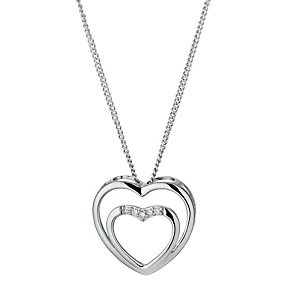 Sterling Silver & Cubic Zirconia Double Heart Pendant - Product number 9955526