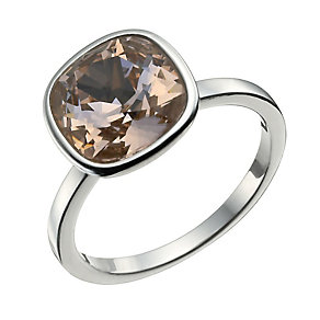 Sterling Silver Rose Crystal Ring Size L - Product number 9955593