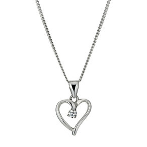 Sterling Silver Cubic Zirconia Heart Pendant Necklace - Product number 9955658