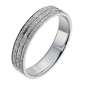 Men's 9ct White Gold 30 Point Diamond Three Row Ring - Product number 9955666