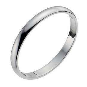 18ct White Gold 2mm Heavy D Shape Ring - Product number 9955801