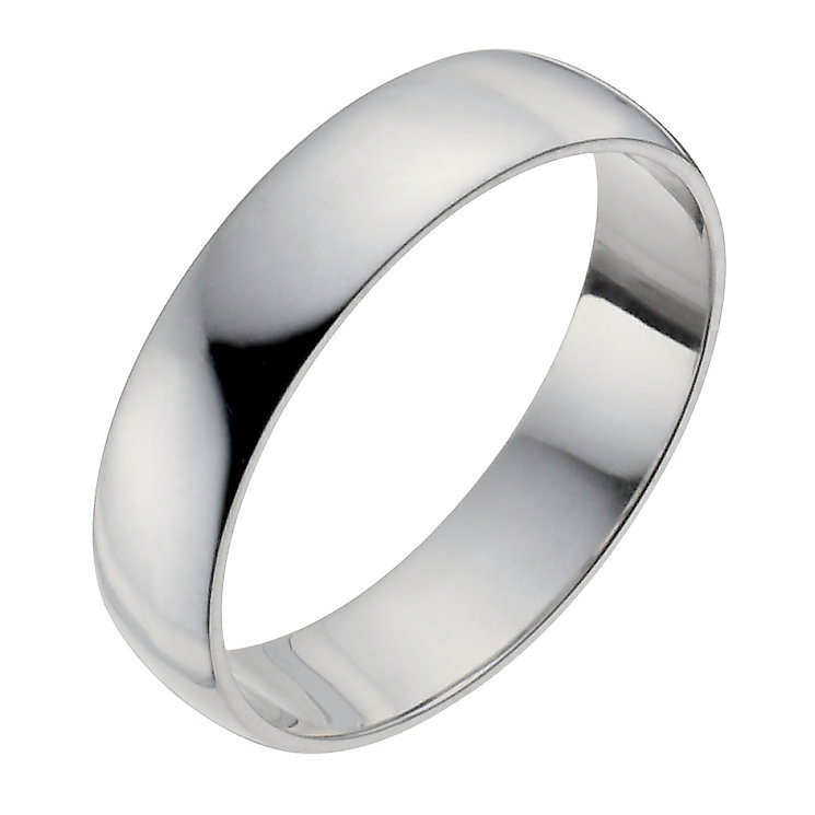 Men's Palladium 950 5mm Extra Heavy D Shape Ring - Product number 9957790
