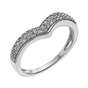 Sterling Silver Quarter Carat Diamond Shaped Ring