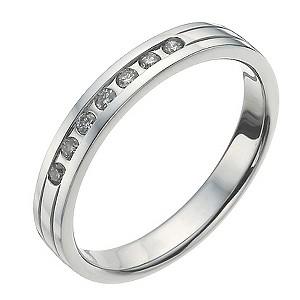 9ct White Gold 1/10 Carat Diamond Shaped Ring