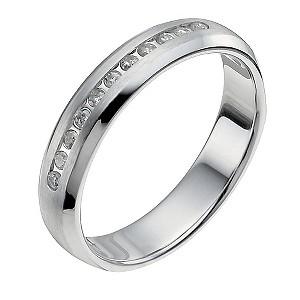 9ct White Gold Matt & Polished 10 Point Diamond Ring