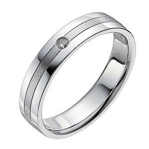 Men's 9ct White Gold Matt & Polished Diamond Ring
