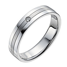 Men's 9ct White Gold Matt & Polished Diamond Ring - Product number 9960457