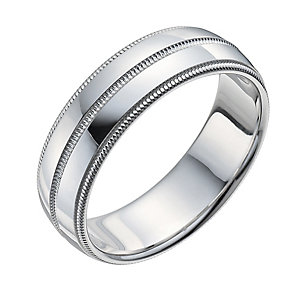Men's Sterling Silver Groove Centre Ring - Product number 9960910