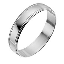 9ct White Gold 4mm Milgrain Edge Ring - Product number 9965009