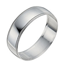 9ct White Gold 6mm Milgrain Edge Ring - Product number 9965858