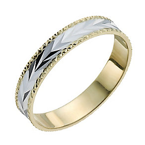 9ct Yellow & White Gold Diamond Cut Patterned Ring - Product number 9966358