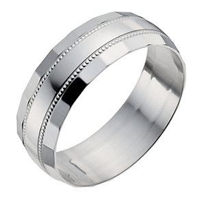 Men's Sterling Silver Diamond Cut Band Ring - Product number 9966560