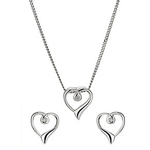 Sterling Silver Cubic Zirconia Heart Earring & Pendant Set - Product number 9966781