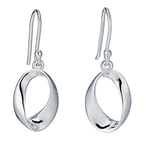 Sterling silver oval twist drop earrings - Product number 9967486