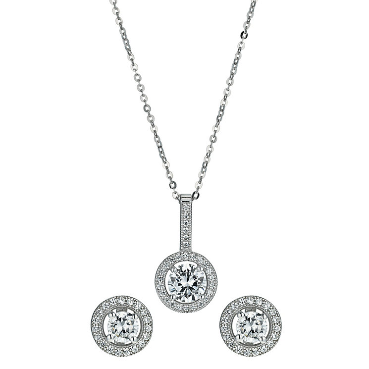Sterling silver cubic zirconia earring & pendant set - Product number 9967494