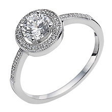 Sterling silver pave cubic zirconia halo ring - Product number 9967702