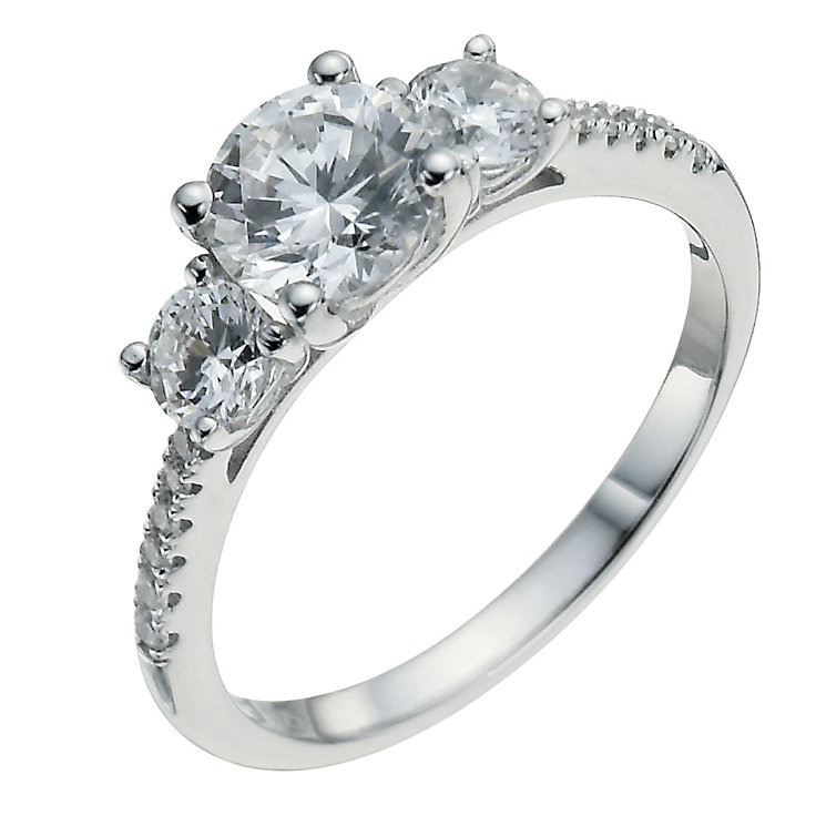Sterling silver cubic zirconia three stone ring - Product number 9968008
