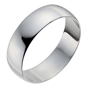 Men's 18ct White Gold 6mm Heavy D Shape Ring - Product number 9969438