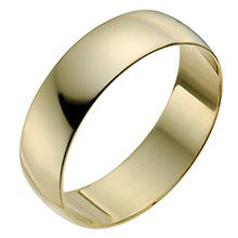 Men's 18ct Yellow Gold 6mm Heavy D Shape Ring - Product number 9969551