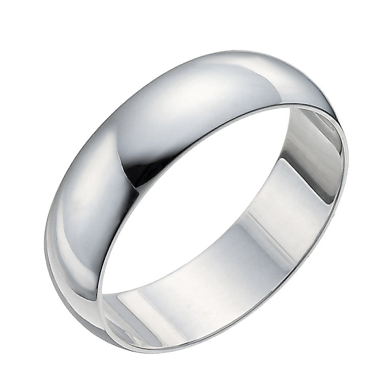 Men's 18ct White Gold 6mm Extra Heavy D-shaped Ring - Product number 9969683