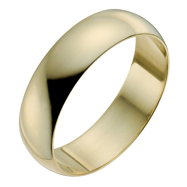 Men's 18ct Yellow Gold 6mm Extra Heavy D Shape Ring - Product number 9969810