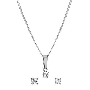 Sterling Silver 3mm Cubic Zirconia Earrings & Pendant Set - Product number 9972374
