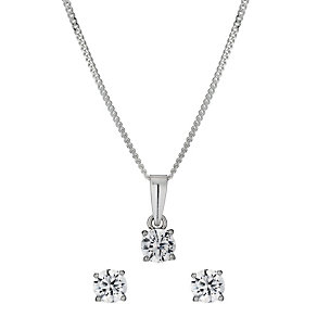 Sterling Silver 5mm Cubic Zirconia Earring & Pendant Set - Product number 9972390
