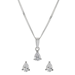 Sterling Silver Pear Cubic Zirconia Earrings & Pendant Set - Product number 9972412