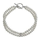 9ct white gold cultured freshwater pearl & diamond bracelet - Product number 9974229