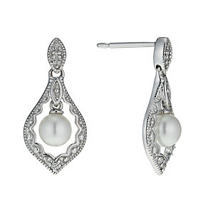 9ct white gold cultured fresh water pearl & diamond earrings - Product number 9974253
