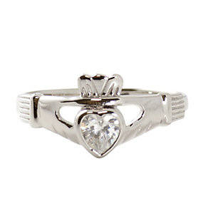 Cailin Sterling Silver & Cubic Zirconia Claddagh Ring L - Product number 9974334