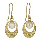 9ct yellow gold cultured freshwater pearl oval earrings - Product number 9974350